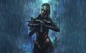 Picture Girl, Rain, Style, Girl, Weapons, Fantasy, Machine, Art, Art, Style, Fiction, Rain, Fiction, Cyborg, Illustration, …