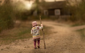 Picture road, girl, stick
