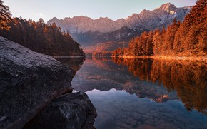 Picture autumn, landscape, nature, lake, stones, Germany, Bayern, Alps, forest, Bank