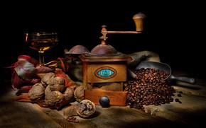 Picture wine, glass, coffee, food, black background, nuts, still life, items, coffee beans, composition, walnut, coffee …