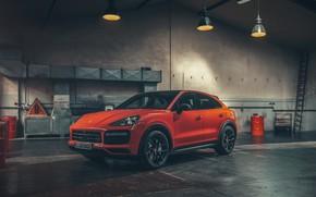 Picture Porsche, Orange, Coupe, Front, Cut, Cayenne Turbo
