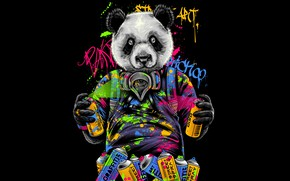 Picture Color, Minimalism, Paint, Panda, Style, Graffiti, Bear, Background, Art, Art, Style, Background, Minimalism, Cartridges, Hastaning …