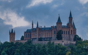 Picture forest, the sky, clouds, trees, castle, wall, Germany, tower, haze, architecture, medieval, vintage, hill