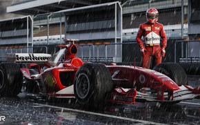 Picture Sport, Rain, Formula 1, The car, Schumacher, Michael Schumacher, Michael Schumacher, Rendering, Schumacher, The shower, ...