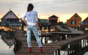 Picture ass, girl, sexy, bottle, jeans, legs, the bridge, figure, bokeh