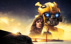 Wallpaper Girl, USA, Action, Car, Golden Gate Bridge, Clouds, Sky, Stars, Robot, Bridge, Alien, Night, Francisco, ...