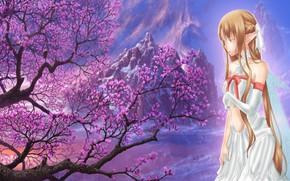 Picture flowers, spring, anime, art, Sword art online, Sword Art Online, Asuna