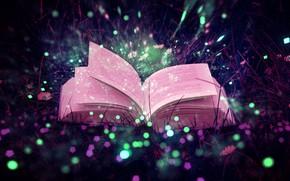 Picture grass, magic, flowers, macro, glare, book, sparkles