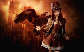 Picture girl, bird, hat