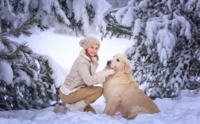 Picture winter, girl, snow, trees, nature, animal, dog, ate, dog, Victoria Dubrovskaya