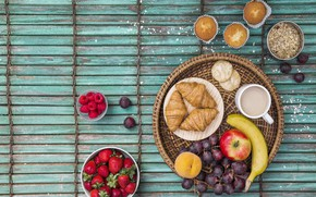 Picture berries, raspberry, Apple, Breakfast, strawberry, fruit, wood, strawberry, cupcakes, fruits, berries, croissants, growing, breakfast, oatmeal, …