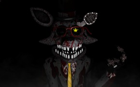 Picture blood, the game, glasses, Five Nights at Freddy's, Five nights at Freddy's, mechanical doll
