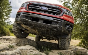 Picture Ford, front view, pickup, Ranger, Lariat, Tremor, 2021, engine house protection, высохшая грязь