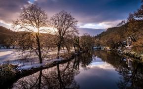 Picture lake, dawn, morning