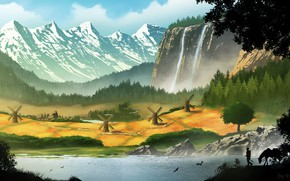 Picture mountains, waterfall, valley, mill, Village commission