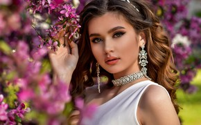 Picture look, girl, decoration, nature, portrait, branch, spring, earrings, makeup, brown hair, flowering, necklace, curls, Anastasia …