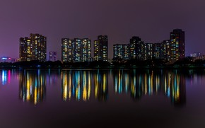 Picture water, night, the city, lights, reflection, home, China, promenade, Guangzhou, Guangzhou