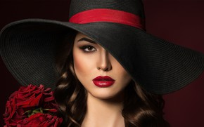 Picture look, girl, flowers, roses, hat, makeup, lips