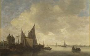 Picture landscape, boat, picture, sail, Jan van Goyen, Jan van Goyen, The Mouth of an Estuary …