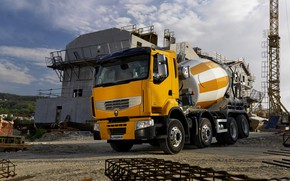 Picture orange, crane, Renault, 8x4, fittings, four-axle, the site, Premium Lander, concrete mixer, Renault Trucks