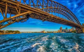 Picture the sky, the sun, bridge, shore, home, Australia, Bay, Sydney