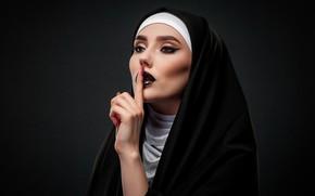 Picture girl, face, background, hand, makeup, finger, nun, gesture, Karina, nun, Евгений Дёгтев