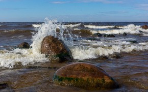 Picture squirt, lake, stones, wave, Surf, Ladoga