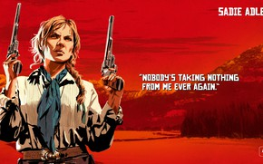 Picture girl, weapons, guns, Red Dead Redemption 2, Sadie Adler