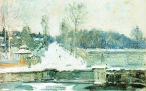 Picture winter, landscape, picture, Alfred Sisley, Alfred Sisley, Dam in Marly-Le-ROI