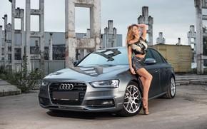 Wallpaper auto, Audi, Girls, beautiful girl, posing on the car
