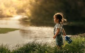 Picture summer, grass, nature, river, shore, girl, lantern, baby, child, Despird Zhang