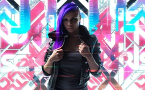 Picture Girl, The game, City, Art, Lights, Neon, Cyborg, CD Projekt RED, Cyberpunk 2077, Cyberpunk, Cyberpunk, ...