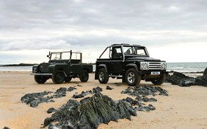 Picture 2008, Land Rover, on the shore, 1948, Defender, Series I, SVX, 60th Anniversary Edition