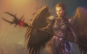 Picture girl, wings, angel, warrior, art, spear, archangel