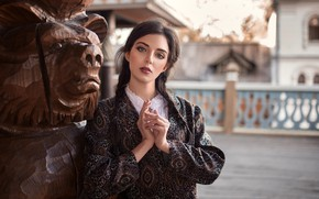 Picture look, pose, portrait, makeup, dress, brunette, hairstyle, outfit, braids, beauty, bokeh, Oleg Demyanchenko