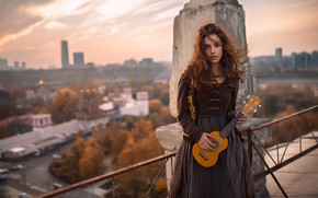 Picture girl, guitar, on the roof, Oleg Demyanchenko, Miriam Erokhina