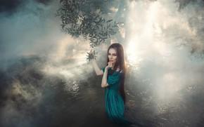 Picture leaves, water, branches, fog, Girl, dress, Albina Shakirova