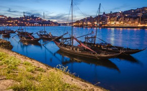 Picture the city, river, home, boats, the evening, lighting, Portugal, harbour, Port, Duero