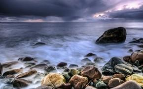 Picture sea, clouds, clouds, stones, overcast, shore
