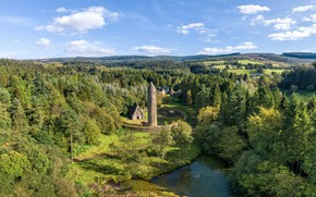 Picture forest, trees, tower, Northern Ireland, Gortin