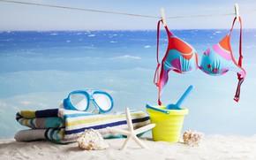 Picture sand, sea, beach, the sun, stay, towel, horizon, glasses, shell, starfish, bra, rope, clothespins, bokeh, …
