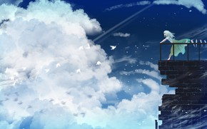 Picture the sky, girl, clouds, birds, balcony