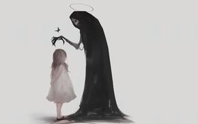 Picture the victim, bones, Death, grey background, baby, art, black cloak, Sawan, blessing, Death Angel, orbit, …
