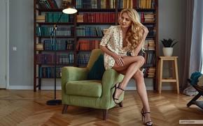 Picture girl, pose, hair, books, chair, legs, floor lamp, Maria Klochkova, Anton Artyushin