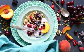 Picture raspberry, grapes, spoon, fruit, peach, BlackBerry, muesli