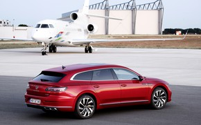 Picture red, Volkswagen, the plane, universal, Shooting Brake, R-Line, 2020, Arteon, eHybrid