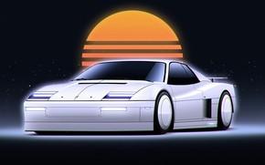 Picture Auto, Music, Machine, Style, Background, Car, 80s, Sun, Style, Neon, Illustration, Sportcar, Testarossa, Sci-fi, Cyberpunk, …
