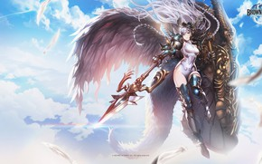 Picture the sky, girl, clouds, weapons, spear, Brown Dust