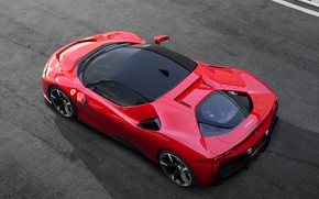 Picture Ferrari, sports car, drives, the view from the top, Road, SF90