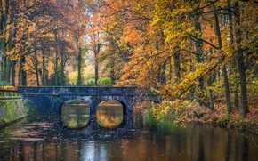 Picture autumn, trees, bridge, Park, river, Netherlands